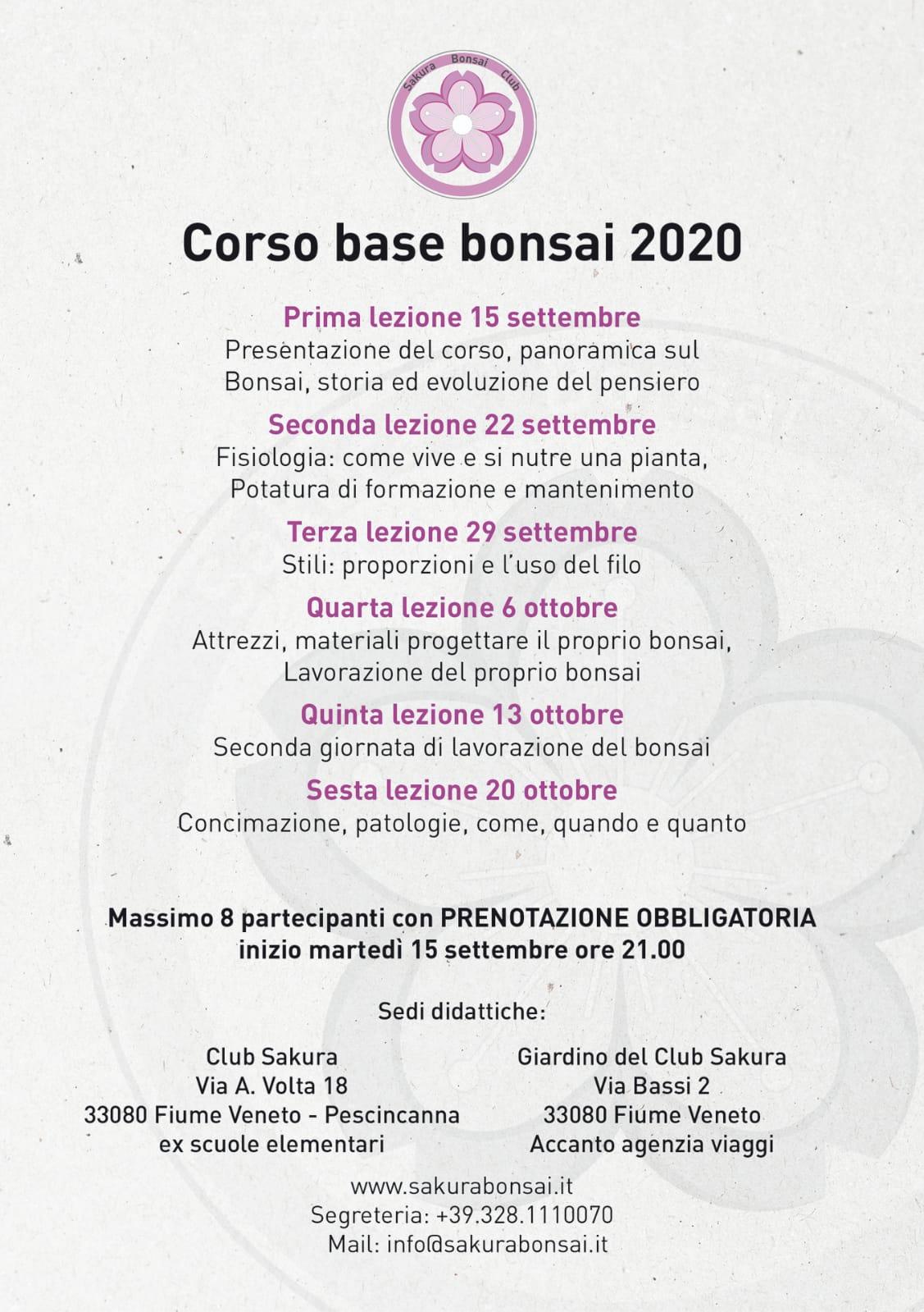 Corso base Bonsai 2020